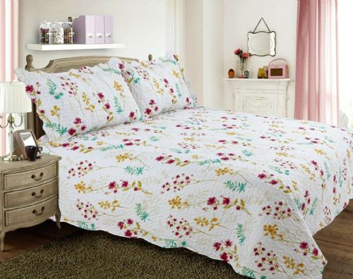 FRENCH COUNTRY COTTAGE QUILTED BEDSPREAD COMFORTER SET PATCHWORK MEADOW FLORAL